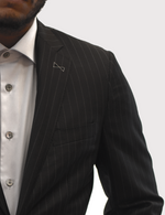 Load image into Gallery viewer, Loro Piana Black Pencil Stripe Suit