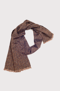 F. Marino Brown Silk/Wool Scarf