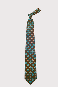 F. Marino Brown Print Silk Ties
