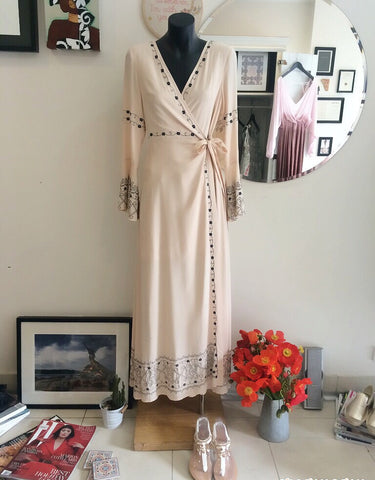 romantic detailed wrap dress with bell sleeve