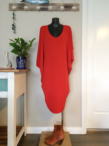 vneck dress - red/oragne