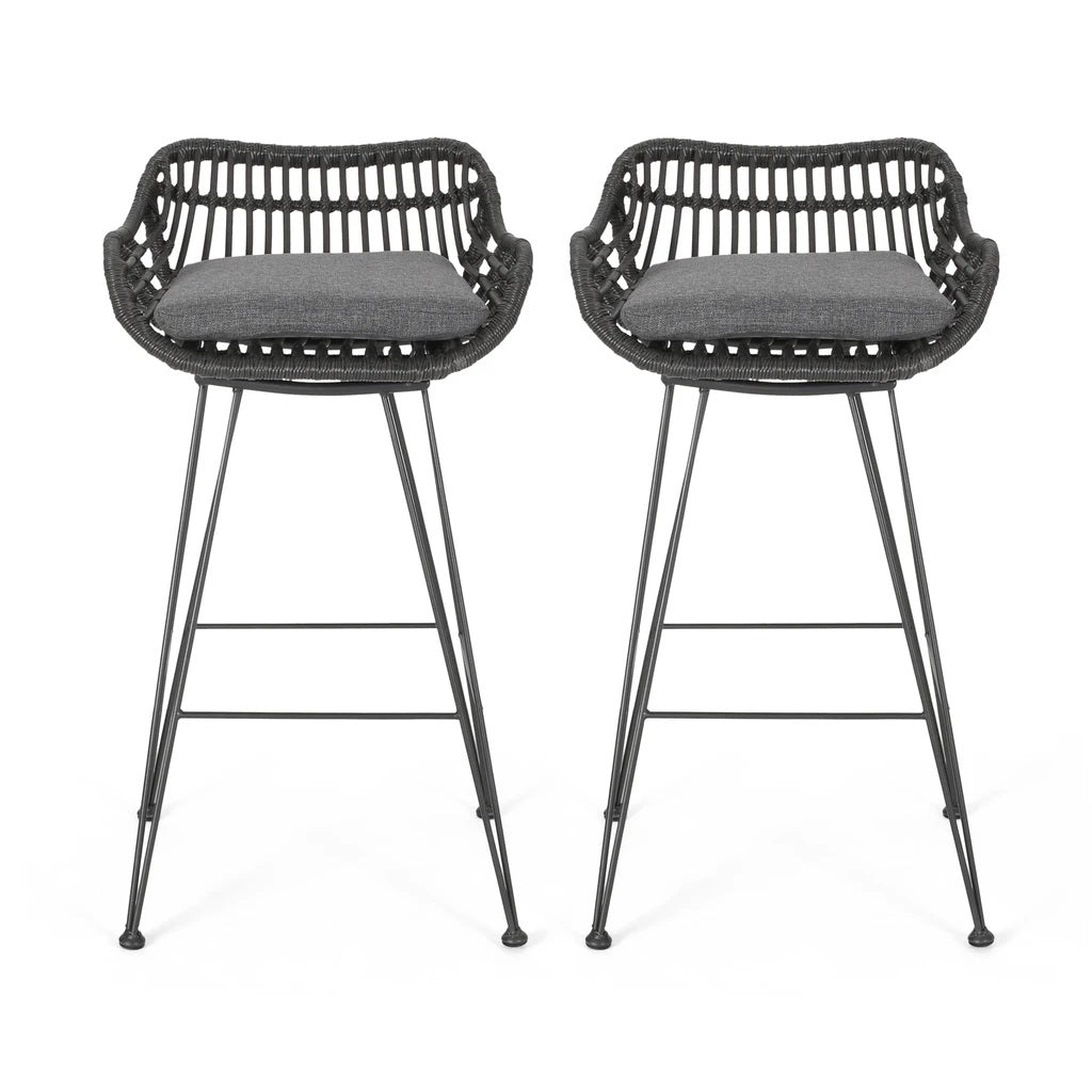 Image of: Lisa Outdoor Wicker Barstools With Cushions Set Of 2 Furny Matter