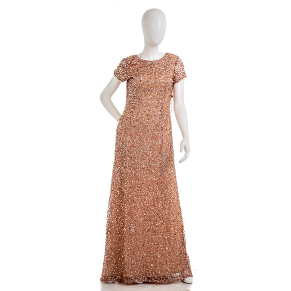 ADRIANNA PAPELL  Sequin Beaded Evening Dress