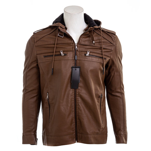 MONTERO Men's Vegan Leather Hooded Jacket