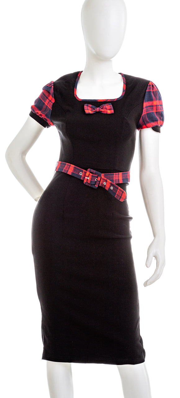 REBEL LOVE Womens Plaid Accent Short Sleeve Dress