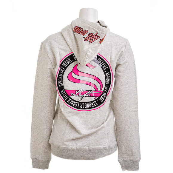 STRONG LIFTWEAR WHO-ST-GP Women's Pullover Hoodie In Grey & Pink