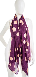 CHICOS 570251145 Womens Purple Dot Oblong Scarf