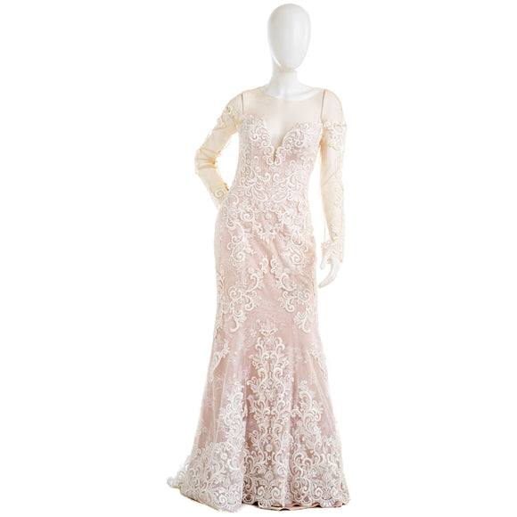 CASABLANCA BRIDAL 2356 Womens Ivory Floral Lace Wedding Dress
