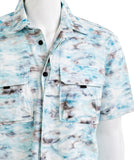 HUDSON LOS ANGELES m7123wre-abca Mens Workwear Aqua Camo Short Sleeve