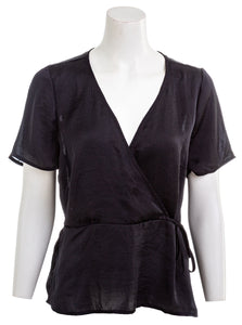 LUCKY BRAND Womens Black Wrap Blouse