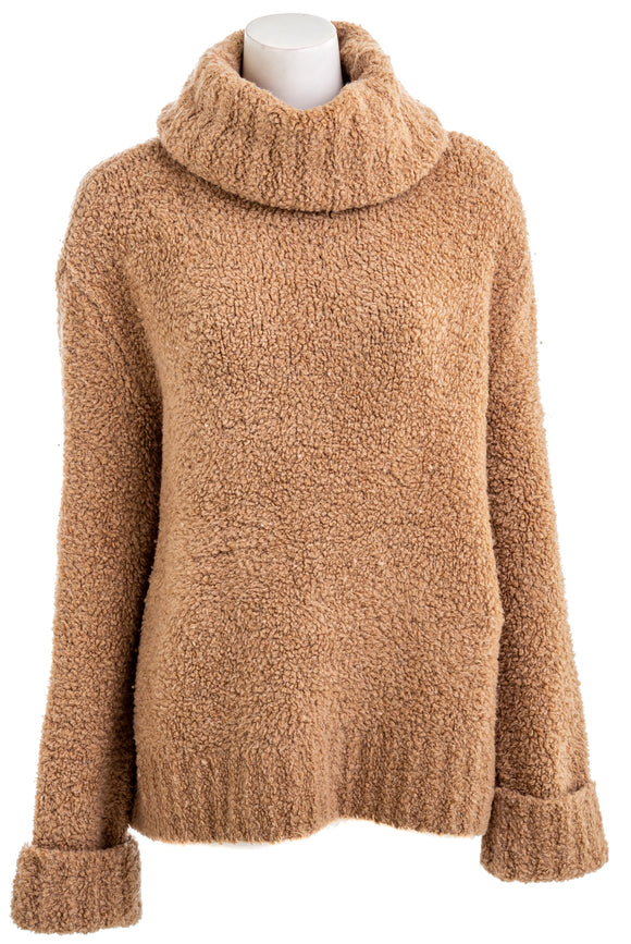 ADAM LIPPES F19606DA Merino Cashmere Teddy Bear Turtleneck Sweater