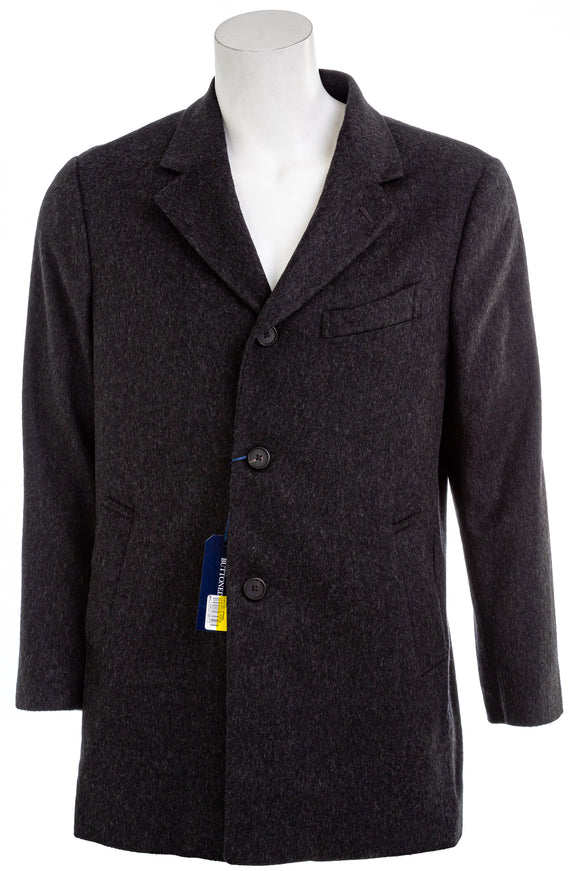 BUTTONED DOWN COAT Mens Italian Wool Car Overcoat