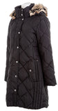 LONDON FOG COLLECTION Womens Quilted Hooded Coat Black