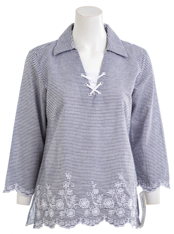 ALFRED DUNNER Smooth Sailing Long Sleeve Blouse