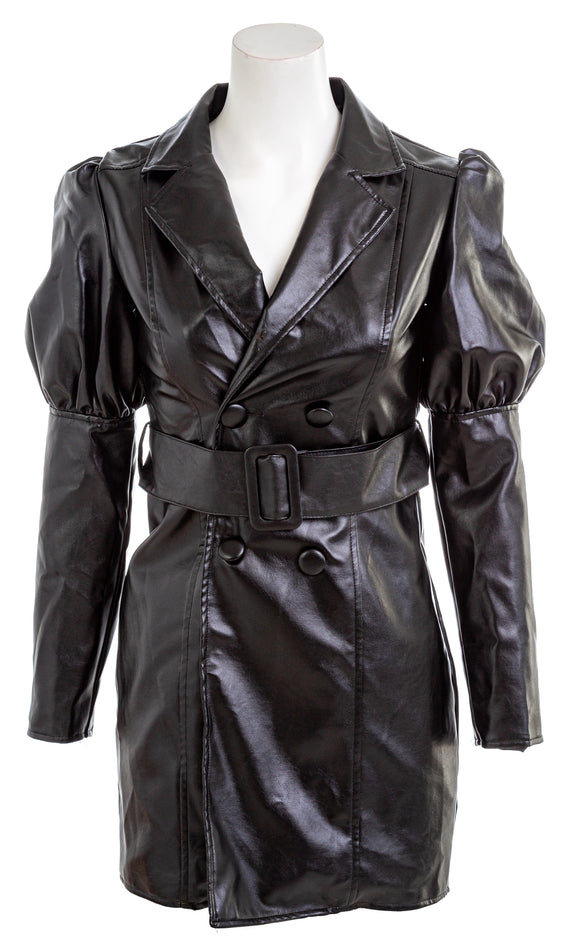 NASTY GAL Power Shoulder Faux Leather Dress