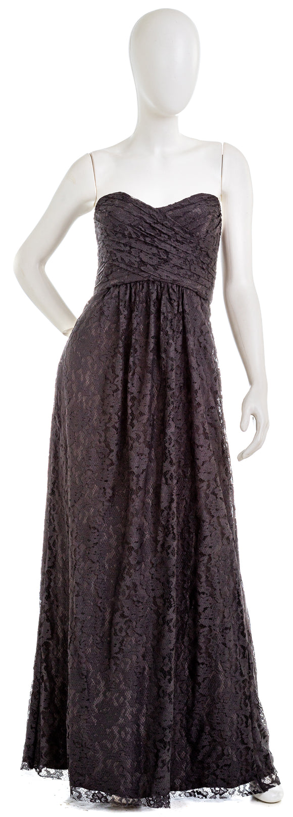 AMSALE Strapless Lace Gown Dress in Pewter