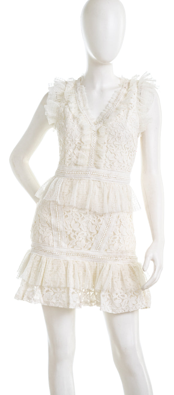 ADELYN RAE Deven Short White Lace Dress