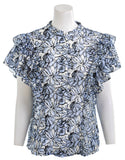 ANTHROPOLOGIE DINA AGAM Jolyn Double Flutter Sleeve Floral Blouse