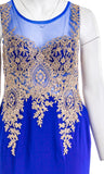 LET'S Sleeveless Blue & Gold Gown