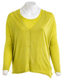 GERRY WEBER Womens Tank and Button Front Sweater in Lime