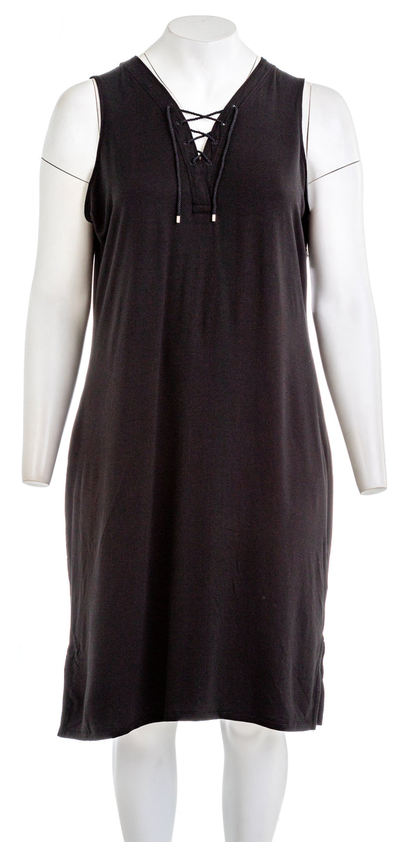 LAUREN RALPH LAUREN V Neck Jersey Knit Midi Dress