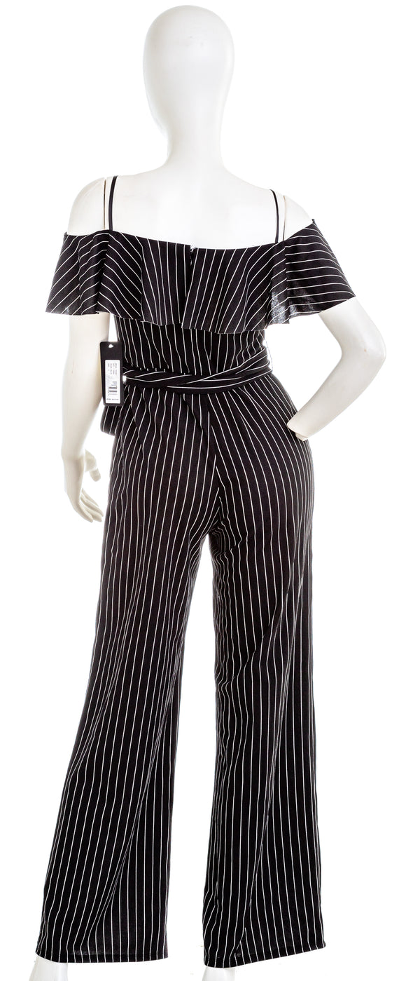BEBE Cold Shoulder Striped Jumpsuit