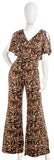 BEBE 700889 Animal Print Flared Leg Jumpsuit