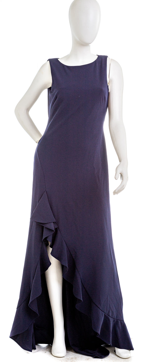 CALVIN  KLEIN Twilight Blue Sleeveless High-Low Gown