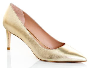 STUART WEITZMAN Leigh Gold Leather Pumps Heels