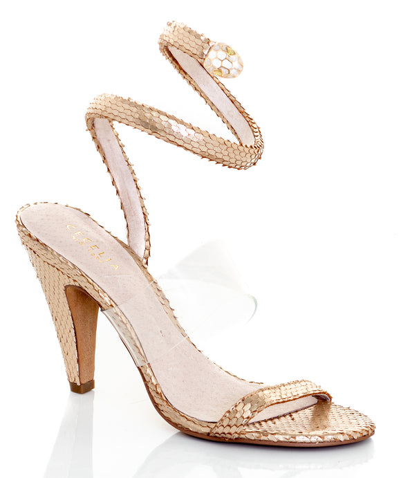 CECELIA NEW YORK Sabrina Gold Ankle Wrap Sandals