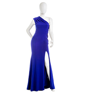 AQUA Pleated One Shoulder Gown