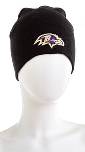 NFL Team Apparel Baltimore Raven Skull Cap Cuffless Beanie