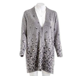CHICOS Animal Print Embellished Cardigan