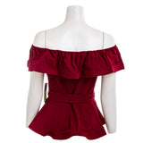 IRIS Crimson Off Shoulder Belted Top