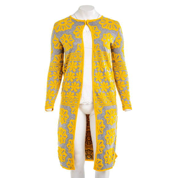 NEXIIA Yellow Floral Side Slit Long Cardigan