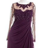 XSCAPE Embellished Illusion Gown in Plum