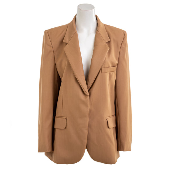 NATASHA ZINKO Women's Oversize Tan Wool Tailored Blazer