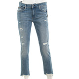 Ralph Lauren Women's The Tompkins Skinny Crop Destroyed Hem Jeans