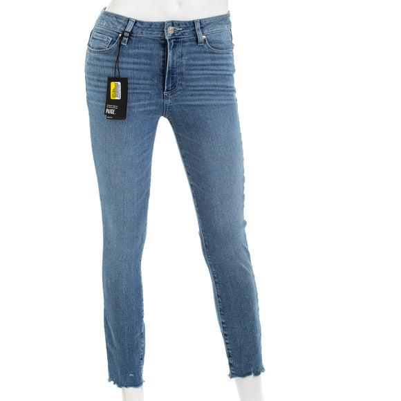 Paige Hoxton Crop Jeans Jukebox Distressed Ragged Hem