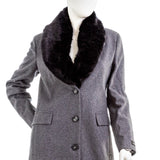 DKNY Women's Petite Faux-fur-collar Wool Blend Coat