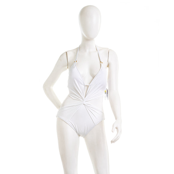 La Blanca Mesh-merizing Twist Front Halter One Piece Swimsuit