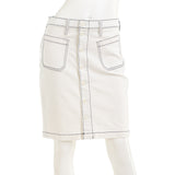 J. Crew Denim Button Front Skirt In White Wash