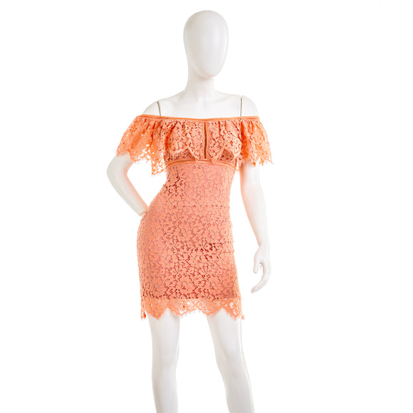 Bebe Off The Shoulder Scallop Lace Mini Dress
