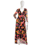Betsey Johnson Floral Tulip Hem Maxi Wrap Dress