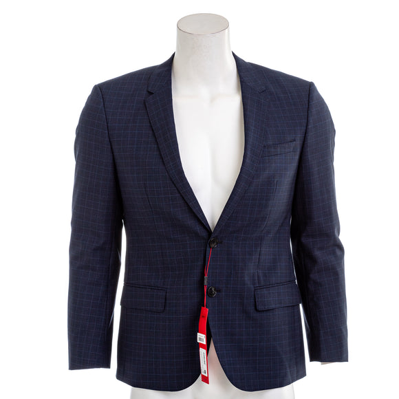 Hugo Boss Men's Slim Fit Dark Blue Micro Check Suit Jacket