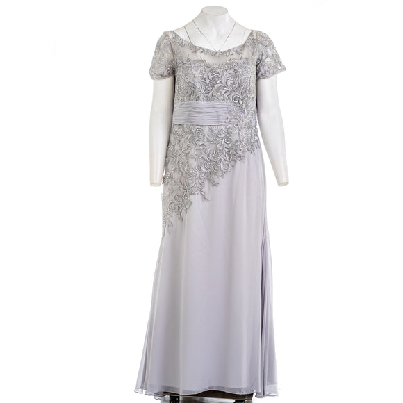 Cameron Blake Embellished Silver Gown Dress
