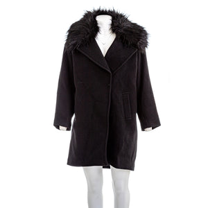 MICHAEL KORS  Faux-fur Trimmed Wool Blend Coat