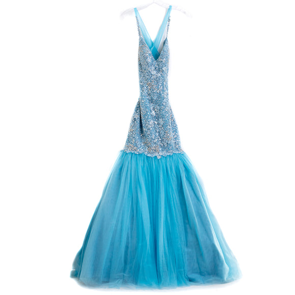 SHERRI HILL Light Blue Beaded Mermaid Dress Gown