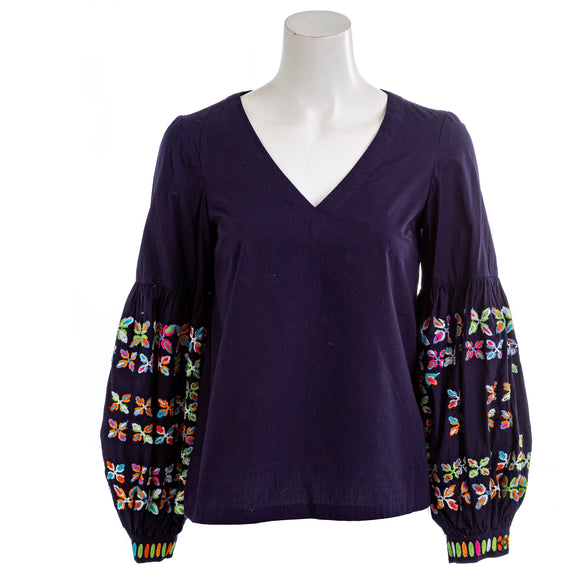 MAEVE BY ANTHROPOLOGIE Navy Blue Embroidered Bell Sleeve Blouse