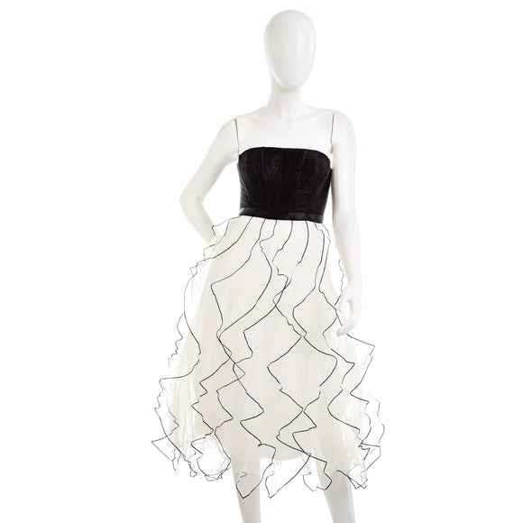 BCBG MAXAZRIA Strapless Ruffled Dress